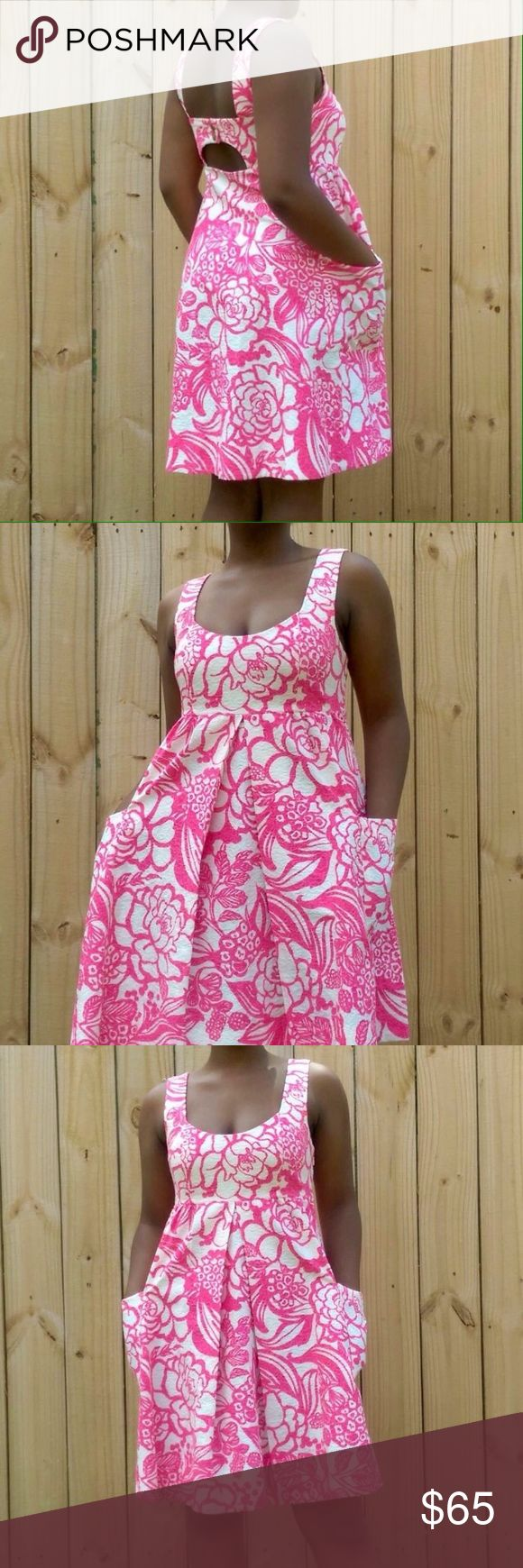 Anthro Garden Party Swing Dress Anthropologie Brand Vanessa Virginia Pink floral garden party Swing dress. Size 4. Gorgeous dress with pockets. Perfect for the summer time. Beautiful vibrant pink floral print. 100% cotton. Bust 17 waist 15 length 28. Anthropologie Dresses