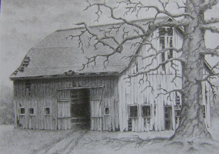 Landscape drawings in pencil easy pencil drawings of for How to draw a barn easy