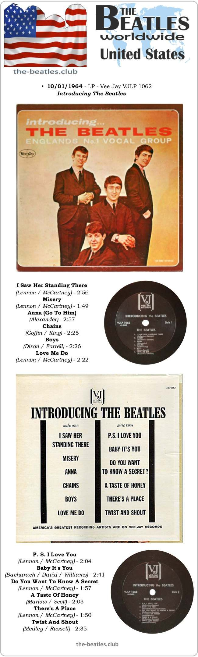"""The Beatles US LP Vee Jay Introducing The Beatles Vinyl Record Long Play 12"""" United States"""