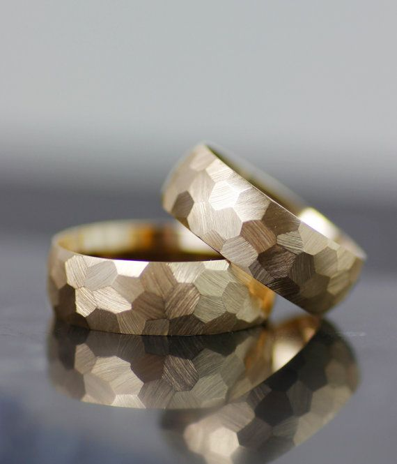 his hers wedding band set, honeycomb womens wedding band, mens wedding ring, unique alternative faceted wedding band, handmade in seattle
