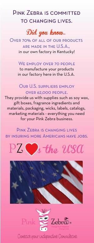 Pink Zebra made in the USA. Visit www.pinkzebrahome.com/kimssweetscents to view our entire catalog