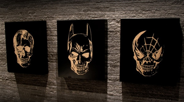 superskulls by teokon , via Behance  #teokon #woodcuts #superhero #batman #superman #spiderman #skull #superskulls