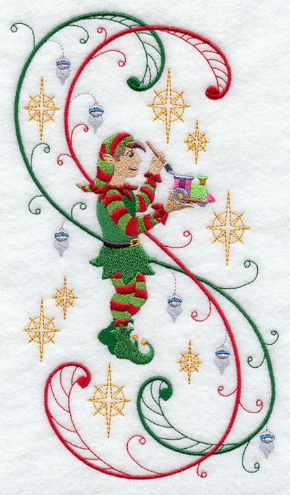 machine embroidery elves   Enchanted Christmas Elf and Train with Swirls