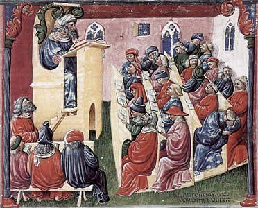 La Escolástica es un método filosófico-teólogico desarrollado, difundido y cultivado en las escuelas de la Europa del Medievo desde el Imperio carolingio al Renacimiento.  El movimiento escolástico se manifestaba a través de dos vertientes: la enseñanza y las formas literarias. La base de la enseñanza en las escuelas fueron las artes liberales, divididas en el trivium -gramática, dialéctica y retórica- y el quadrivium -aritmética, geometría, música y astrología.
