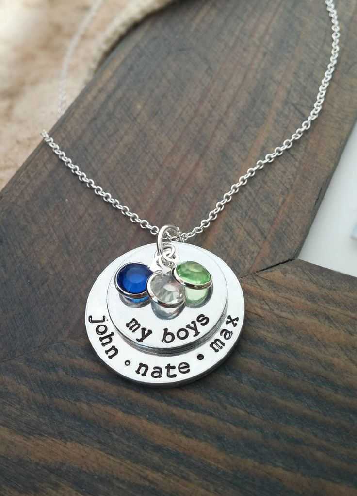 My Boys Necklace // Personalized Necklace with Kids Names and Birthstones // Hand Stamped Jewelry // Custom Necklace for Mom of Boys by GracefullyMadeStudio on Etsy https://www.etsy.com/listing/218128751/my-boys-necklace-personalized-necklace
