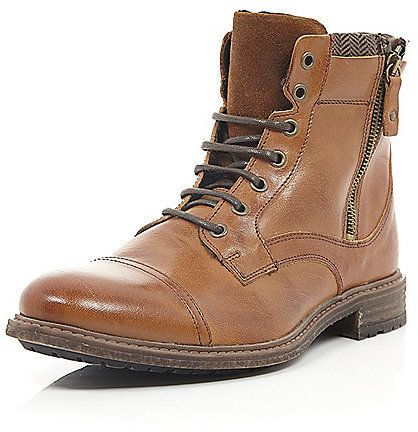 $140, River Island Brown Leather Side Zip Military Boots. Sold by River Island. Click for more info: https://lookastic.com/men/shop_items/286735/redirect