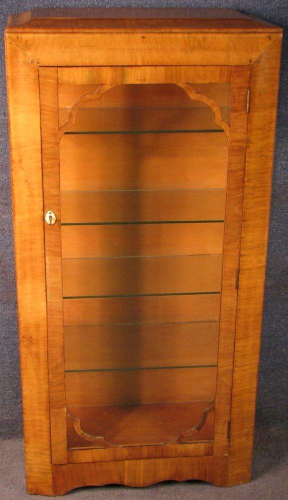 1930s Art Deco Walnut Single Door Display Cabinet #ArtDeco #DisplayCabinet