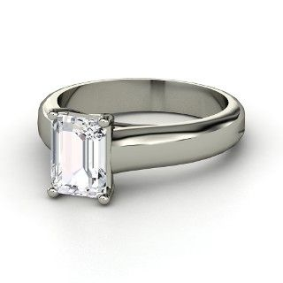 platinum and emerald cut diamond ring