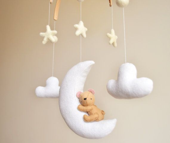 Teddy Bear Crib Baby Mobile | Nursery Decor Baby Shower | Sleeping on Moon Clouds Stars | Travel jungle woodland Nursery | 100% Wool Felt
