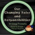 These writing prompts were designed using the new Ontario Social Studies curriculum - with ideas and words straight from the text (with a focus on student ideas and not on regurgitating answers). ** This document is included in my Grade 1 Social Studies Social Studies Kit (Revised Ontario Curriculum, 2013.