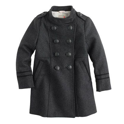Gorgeous girls' wool military coat at J Crew - on sale 30% off today!