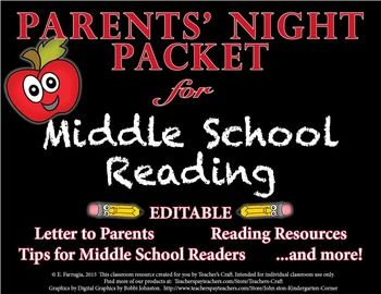 FREE I carefully crafted this packet from all the handouts I created for my own back-to-school night in my classroom.  Specifically geared for the middle school reading/language arts classroom.This package includes all the information you need to provide parents on the night of your event. 6-8