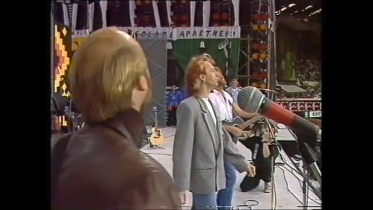 """Maurice, Robin & Barry Gibb, singing """"You Win Again"""". 1988 Wembley Arena, England for 70th Birthday Celebration Concert for Nelson Mandela."""