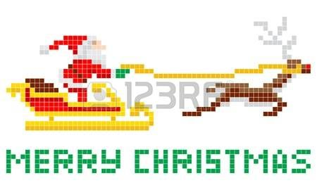 Retro 8-bit arcade video game style pixel art Christmas Santa Claus in sleigh with Merry Xmas message