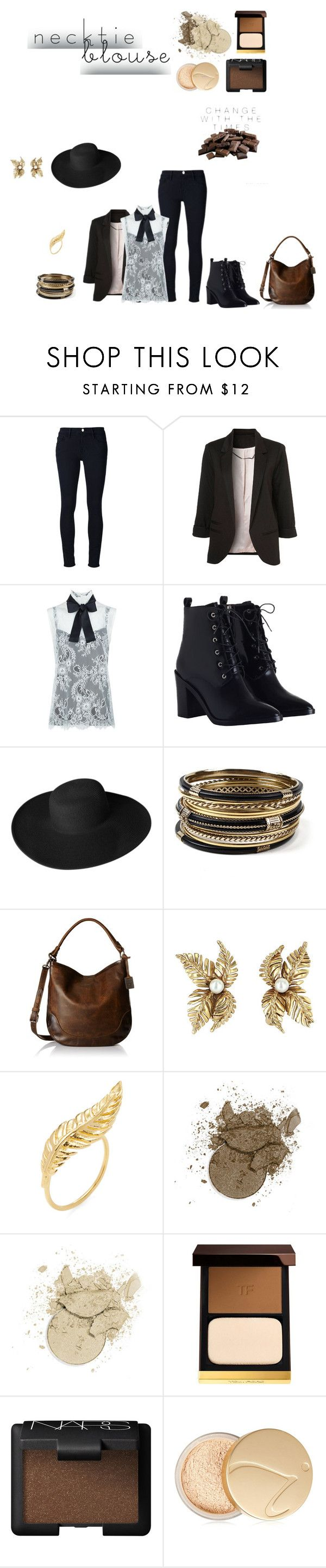 """Trend to Try: Necktie Blouse"" by mya-zari ❤ liked on Polyvore featuring Frame Denim, WithChic, Philosophy di Lorenzo Serafini, Zimmermann, Dorfman Pacific, Amrita Singh, Frye, Jacquie Aiche, Tom Ford and NARS Cosmetics"
