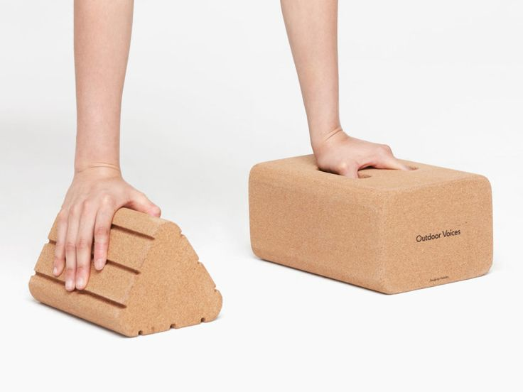 Cult favorite athletic wear line Outdoor Voices brings out yoga blocks (including a triangle!) made from cork.