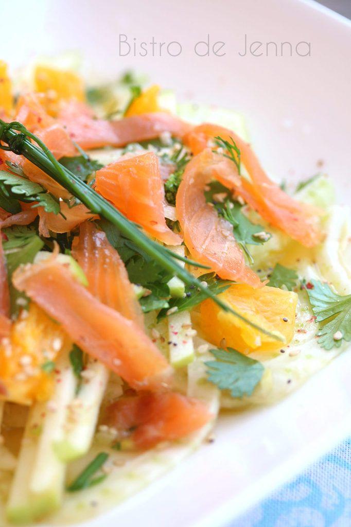 Salade de fenouil, orange et truite fumée