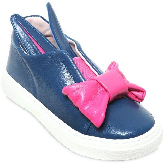 Minna Parikka Bunny Bow Nappa Leather Slip-On Sneakers