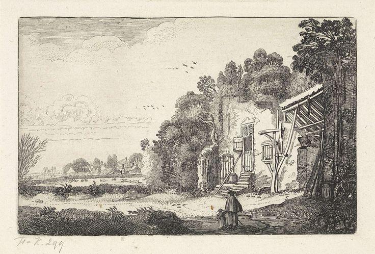 Jan van de Velde (II) | Vrouw met kind bij een ruïne van een huis, Jan van de Velde (II), 1616 | Een vrouw met een kind bij een ruïne van een huis in een landschap. Vijfde prent van een serie van in totaal 52 prenten met landschappen, verdeeld over twee delen van elk 26 prenten.