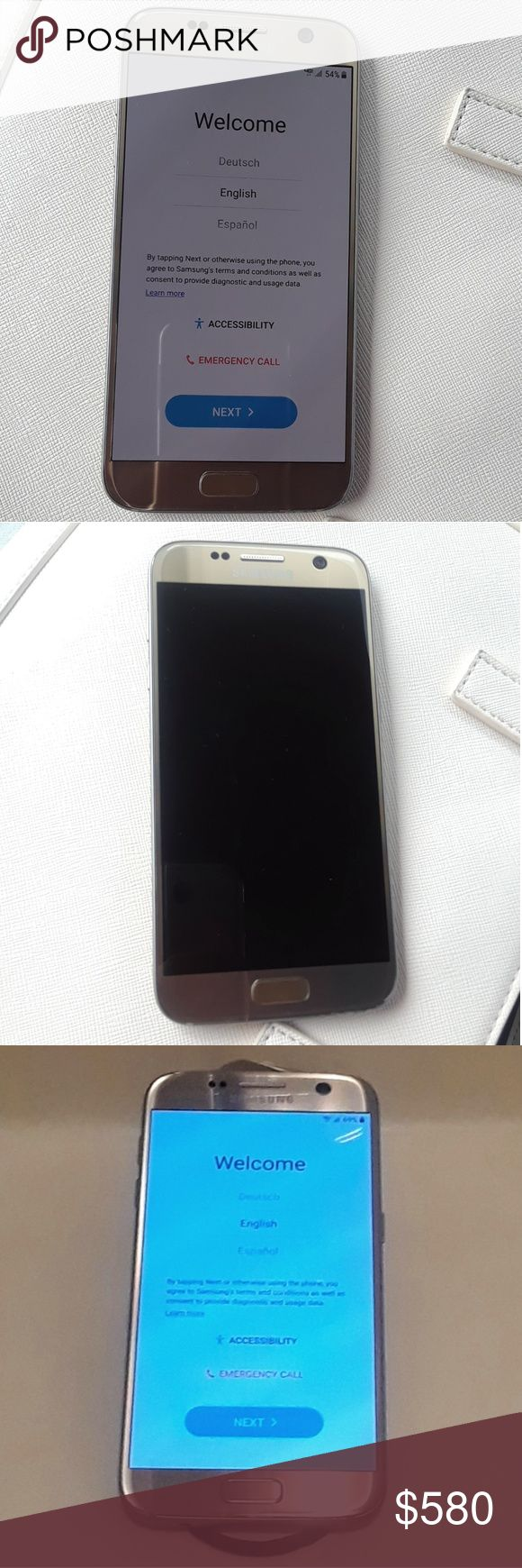 Samsung Galaxy S7 SM-G930 - 32GB - Gold Platinum The Galaxy S7 comes in 32GB. The phone is in excellent conditions & works perfectly. No scratches, no cracks. 100% Water Resistant. Almost Brand New! Samsung Galaxy S7 Other