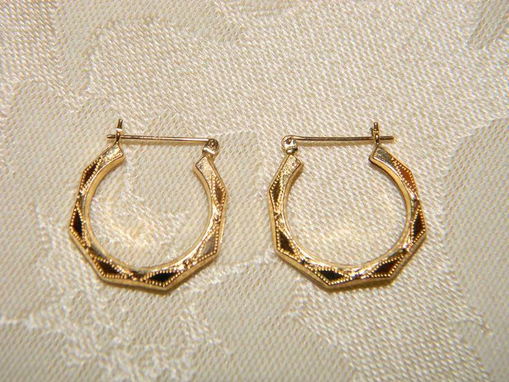 """14k Yellow Gold Hoop Pierced Diamond Cut Earrings Octagon 3/4"""" Hallmarked 585"""