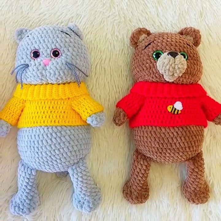 CROCHET PATTERNS: Bear, Bunny, Cat & Pig, Amigurumi crochet pattern, Stuff animal pattern