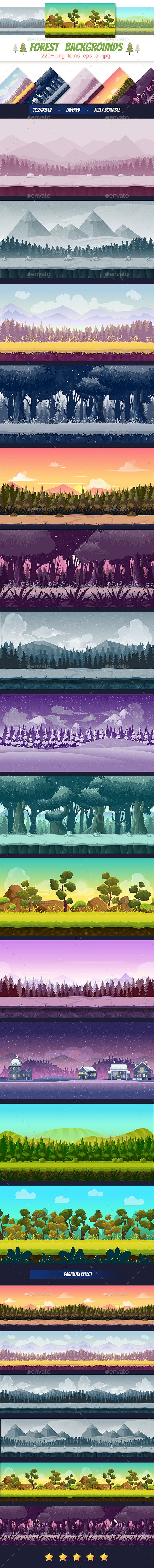Forest Backgrounds Pack - #Backgrounds #Game Assets