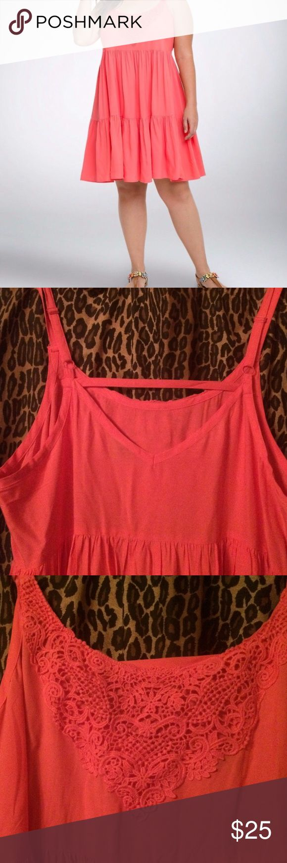 BNWT NW Coral Torrid Sundress Size 2 Brand new, never worn, tags attached Torrid sundress, size 2 (2x). Beautiful coral color. So sad it is too tight on my chest :( Paid 59, selling for 25. torrid Dresses Midi