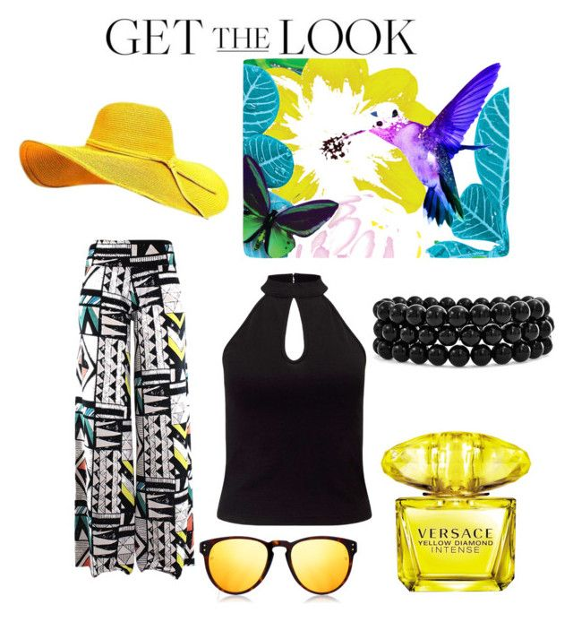 """hat style"" by danielsan on Polyvore featuring Miss Selfridge, Linda Farrow, Versace, Bling Jewelry, GetTheLook and hats"