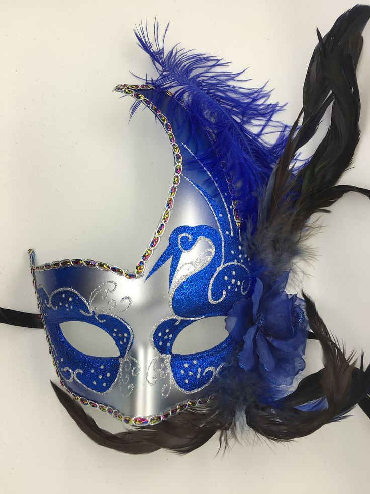 Blue and silver Venetian style Mardi Gras mask with ribbon ties.