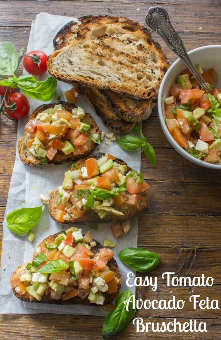 Easy Tomato Avocado Feta Bruschetta a simple & fast appetizer. Fresh ingredients, olive oil and balsamic make this a delicious healthy recipe. Makes an amazing side dish, appetizer or even lunch dish.