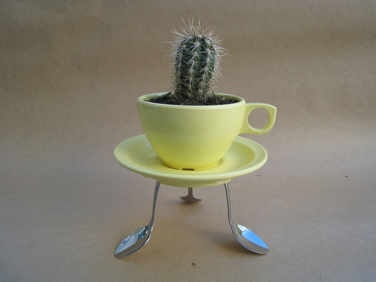 Yellow Coffee Cup Planter with Saucer and Spoon Holder via Etsy.