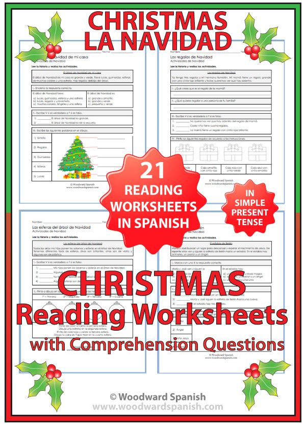 21 original Reading Comprehension worksheets about Christmas in Spanish. ---- 21 páginas con textos acerca de la Navidad y preguntas de comprensión.