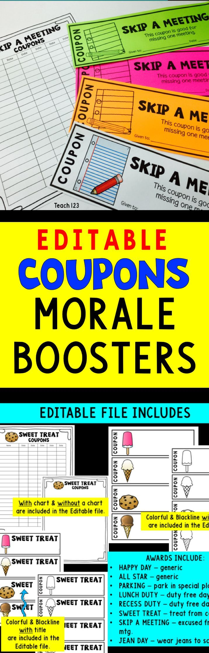Teacher Appreciation - Staff Morale Booster - Coupons - EDITABLE: Coupons are a fun and inexpensive to improve the climate of your school and make it a happy place to work. Fun coupons like jean day, skip a meeting, special parking spot, are included. paid