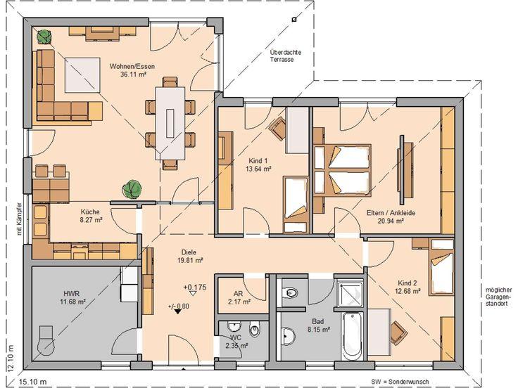55 best Grundrisse images on Pinterest Home plans, Bungalow and - offene kuche wohnzimmer grundriss