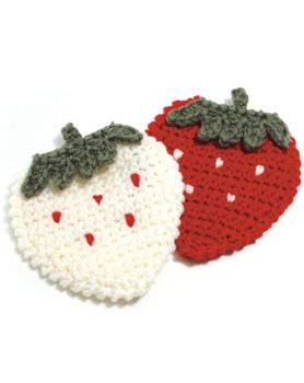 Eco-scourer fruit coaster strawberry knitting in a cafe kitchen