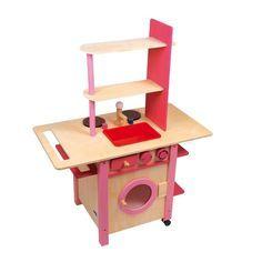 Cocina de #madera muy completa, con lavadora, horno y fregadero. Este juguete educativo para #niños favorece el desarrollo del juego simbólico #educacion #padres