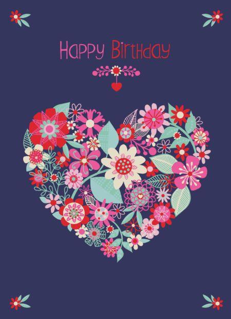 Jane Ryder-gris - corazón floral moderno del cumpleaños