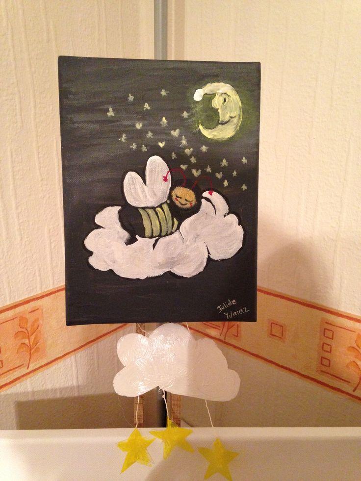 Çocuk odası için Uyuyan Arı çalışmam.Acrylıcs farbe.Jülide Yılmaz