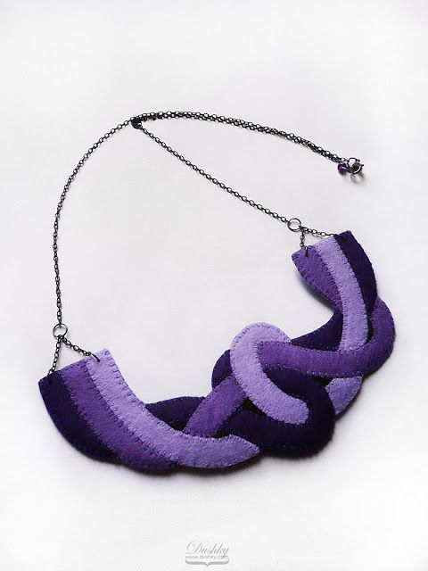necklace by #dushky | #felt #jewelry #accessories #handmade #purple #violet ##knot #knotted #strings #statement