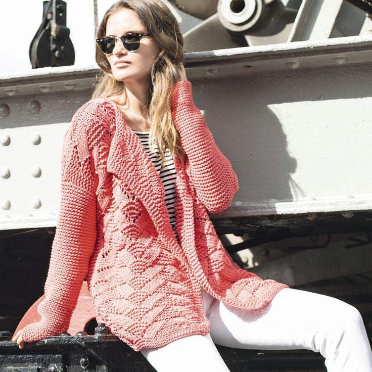 Розовый жакет спицами с узором Ракушка | вязание для женщин
