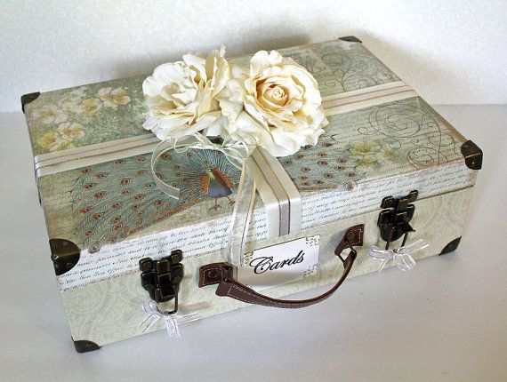 Wedding Trunk Card Box Neutral colors with Ivory & Gold. Wedding Suitcase Card Holder. Money Box. Programs.