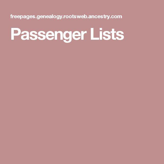 Passenger Lists
