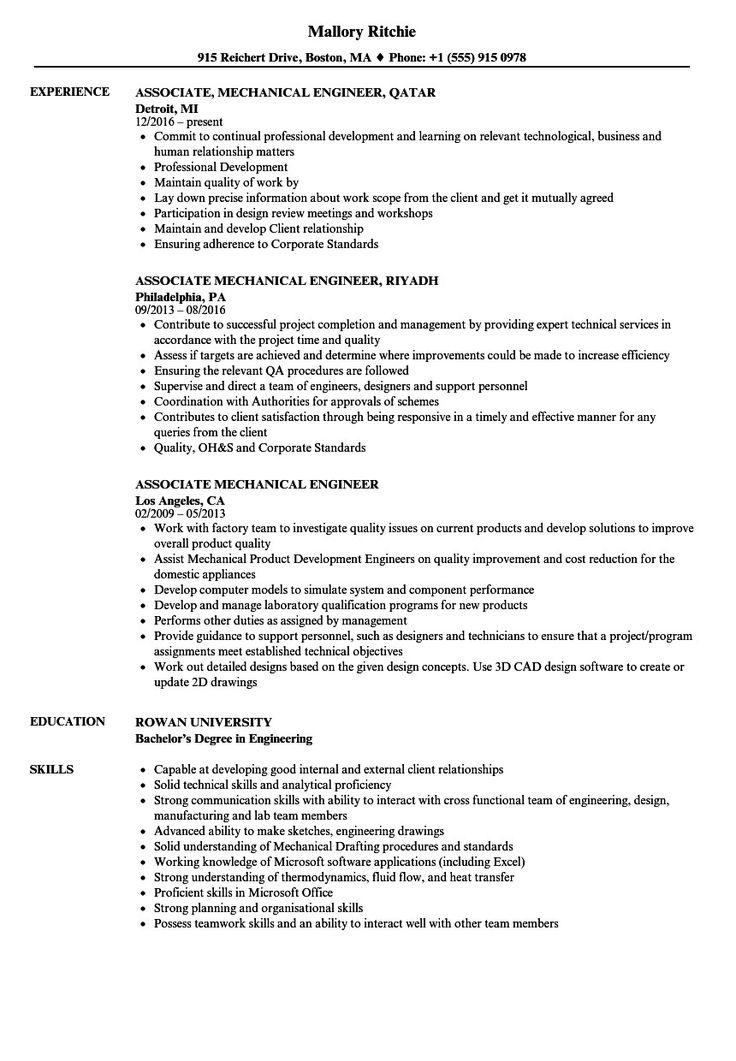 associate mechanical engineer resume sample Luxus