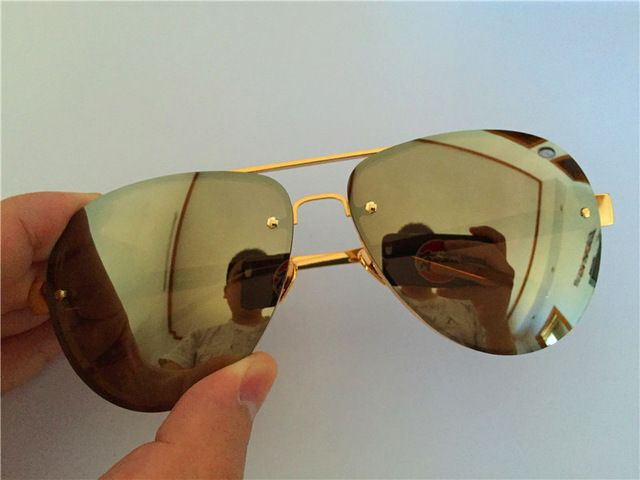 luxury sunglasses luxe LFL375 pilot pure titanium frame 18K gold plated mirror lens oversized for unisex & original case US $62.82 To Buy Or See Another Product Click On This Link  http://goo.gl/yekAoR