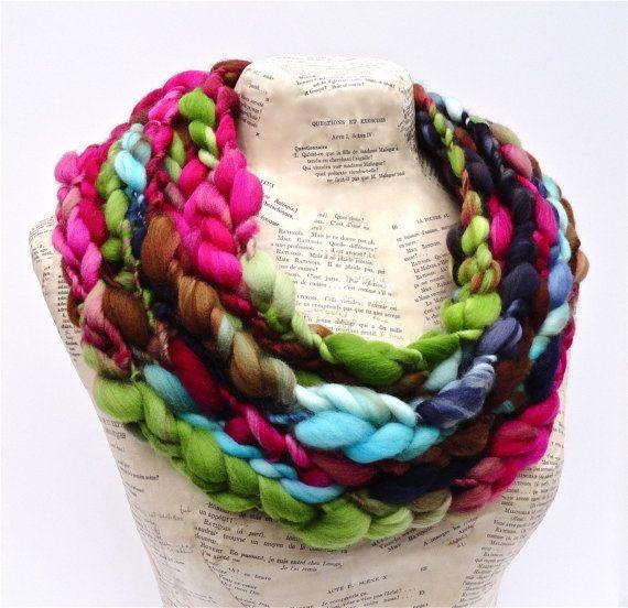 Bougainvillea Scarf Soft Merino Super Chunky Thick and Thin Art Yarn