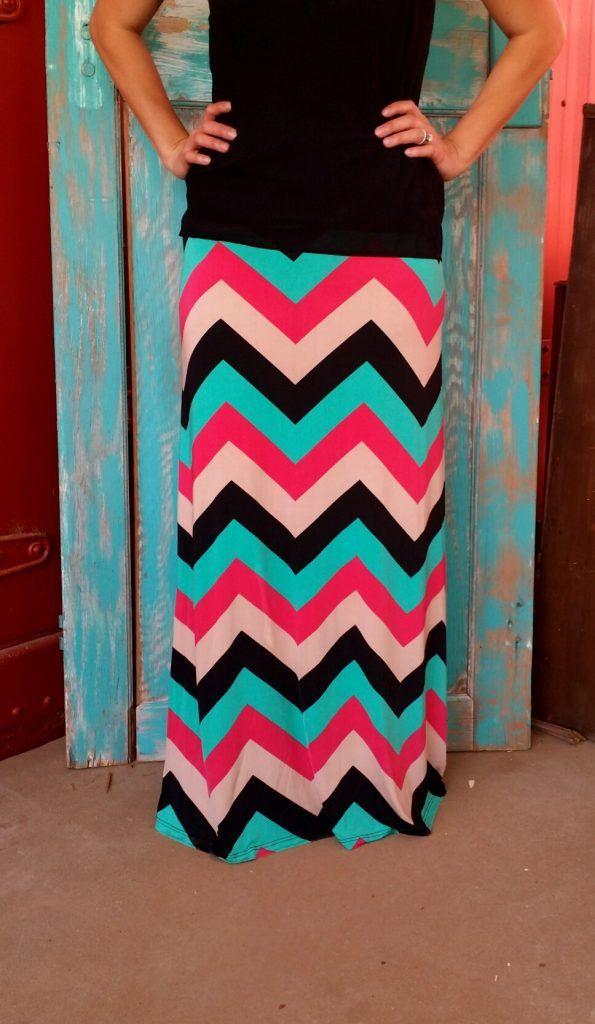 Small Zig Zag Chevron Maxi Skirt Fold Over Coral Mint Black Pink Chevron Maxi Skirt