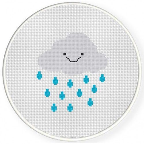 Smiling Rain Cloud Cross Stitch Illustration