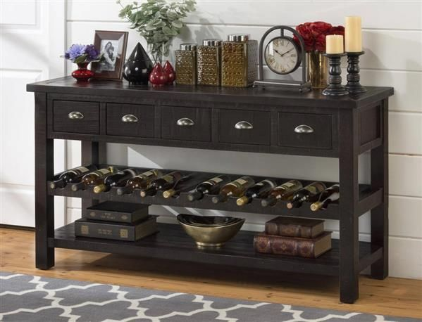 Prospect Creek Cottage Brown Wood 60 Inches 5 Drawers Wine Rack/Server