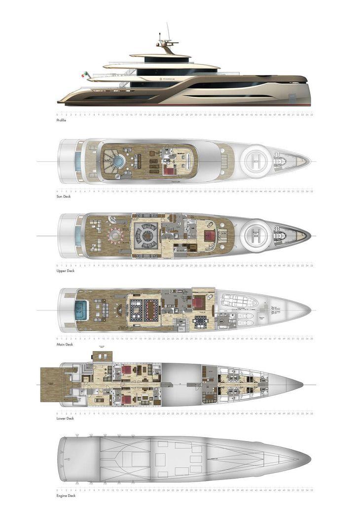 Luxury Yacht Engine Room: Raised Pilothouse Mega-yacht / Aluminum / Semi